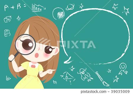 cute cartoon girl student 39035009