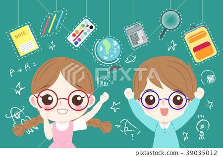 cute cartoon children student 39035012