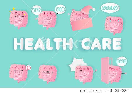 cute cartoon  intestine 39035026