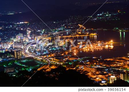 A night view of Nagasaki Sasebo A view from the Yumiwari