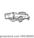 rear view of pick-up truck vector illustration 39038060