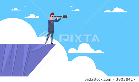Businessman Stand On Top Of Mountain With 39038417
