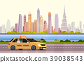 Yellow Taxi Car Cab On Road Over Dubai City 39038543