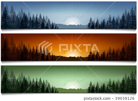 Set of forest landscape scenes banners 39039126