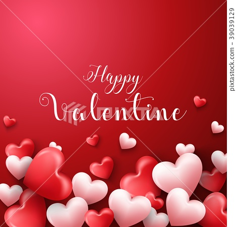 Happy valentines day background with hearts balloo 39039129