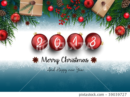 2018 merry christmas and happy new year with fir b 39039727