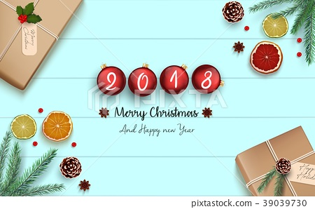 Merry Christmas and Happy New 2018 Year background 39039730