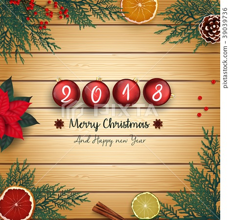 2018 merry christmas and happy new year with red c 39039736