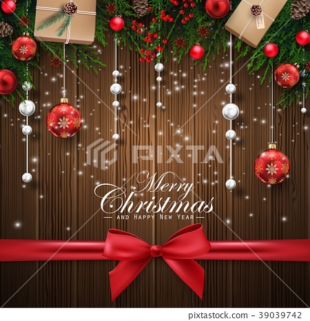 Christmas wooden background with decorations eleme 39039742