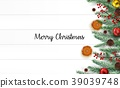 Christmas wooden background with fir branches and  39039748