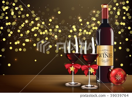 Red wine glass with wine bottle and christmas ball 39039764