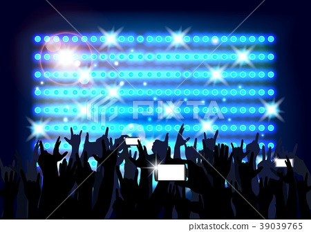 Blue of background crowd of party people. Vector 39039765