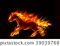 Fire burning horse of running on black background 39039768