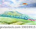 滑翔傘二世谷手寫素描天空體育 39039915