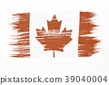 Art brush watercolor painting of Canadian flag  39040004