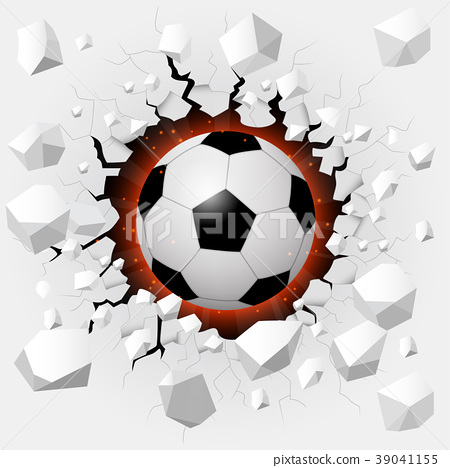 Soccer ball with cracked background 39041155