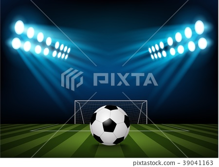 Football on the field of stadium with light 39041163