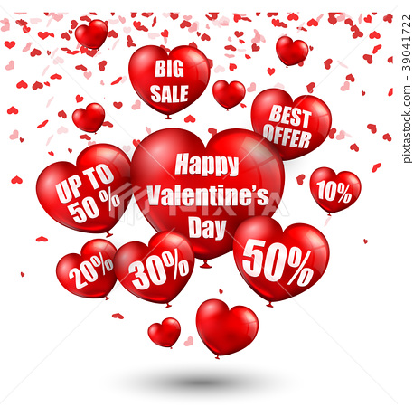 Happy Valentine's Day background with big sale bal 39041722