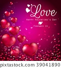 Transparent red heart balloons on purple backgroun 39041890