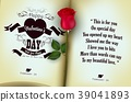 Red rose with open of diary background 39041893