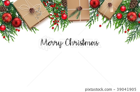 Christmas background with fir branches and red bal 39041905