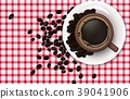 Cup of coffee with coffee beans on a tablecloth ba 39041906