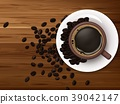 Cup of coffee with coffee beans on brown wooden ba 39042147