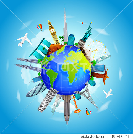 Planet earth travel the world concept on blue sky  39042171