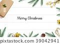 Christmas decoration on wooden background 39042941
