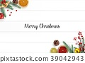 Christmas wooden background with fir branches and  39042943