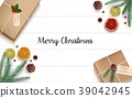 Christmas wooden background with fir branches and  39042945
