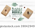 Christmas wooden background with gift boxes and fi 39042949