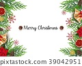 Christmas background with fir branches and golden  39042951