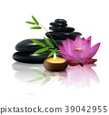 Bamboo, flower, stone and wax isolated background 39042955