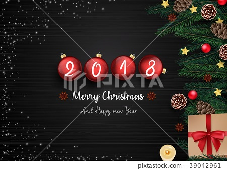 Merry christmas and happy new year 2018 with red c 39042961