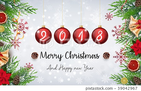 Merry christmas and happy new year 2018 with red c 39042967