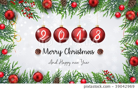 Merry christmas and happy new year 2018 with red c 39042969