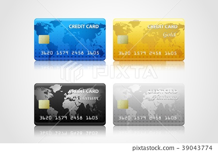collection of credit cards isolated on white. Vect 39043774