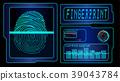 Scanning human fingerprint technology background 39043784
