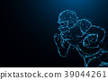 Abstract American football player in action. 39044261