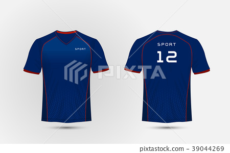 Blue and red lines layout football sport t-shirt. 39044269