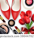 Sets of cosmetics background with red tullips 39044702