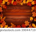 Grunge background with wooden planks autumn leaves 39044710