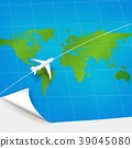 Plane the world map with concept of three-dimensio 39045080