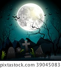 Halloween background with zombie hands, graveyard, 39045083