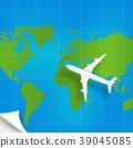 Plane the world map with concept of three-dimensio 39045085