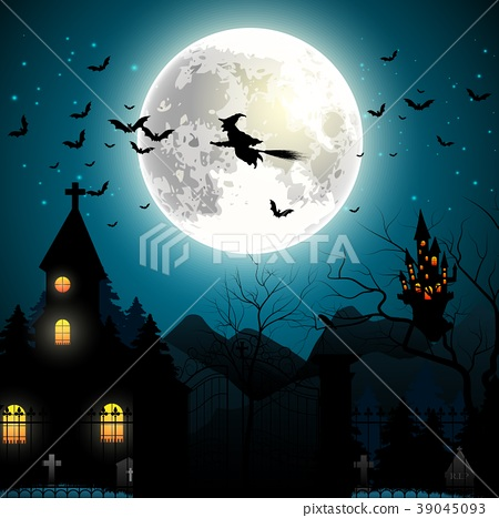 Halloween background with flying witch on the full 39045093