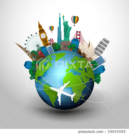The concept of travel. famous monuments of the wor 39045095