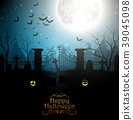Halloween background with spooky graveyard 39045098