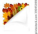 Vintage autumn paper with fall leaves. Vector 39045099